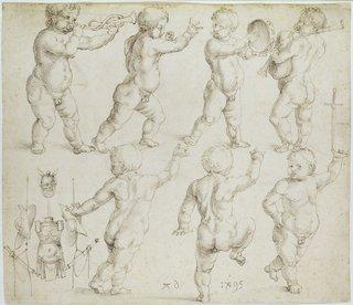 Альбрехт Дюрер. Танцующие и музицирующие путти с античным «трофеем». 1495