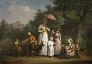 A Noble Family Distributing Alms in a Park (Mathys Ignatius van Bree)