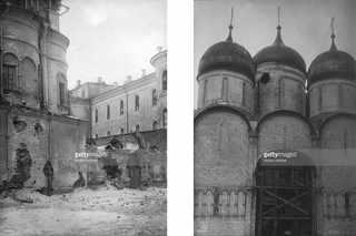 Церковь Двенадцати Апосттолов в Москве, пострадавшая от стрельбы / Успенский собор поврежденный снарядом