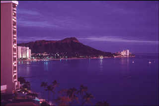 Dennis Stock Waikiki Beach at night, with Diamond Head. Island of Oahu. © Dennis Stock Magnum Photos
