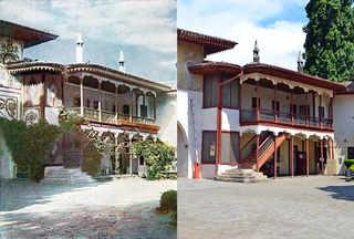 Внутренний фасад Бахчисарайского дворца, Крым. 1905-2014 | © В. Ратников / www.prokudin-gorsky.org
