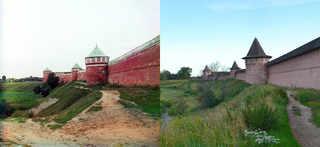 Западная стена Спасо-Ефимиева монастыря, Суздаль. 1912-2012 | © В. Ратников / www.prokudin-gorsky.org