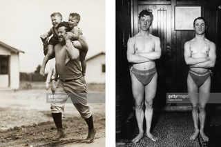 Jim Thorpe, футболист и атлет /  Британские пловцы J Slane и C Stephens готовятся к Стокгольмским играм