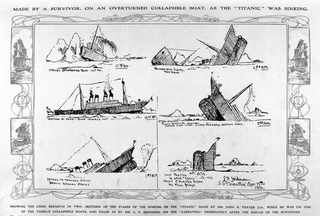 """Апрель 1912, Зарисовка затопления Титаника, сделанная John B. Thayer в момент, когда он находился в спасательной шлюпке, которая впоследствии перевернулась. Рисунок был дополнен P.L. Skidmore уже на борту лайнера """"Carpathia"""""""