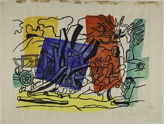 Фернан Леже. Загородная прогулка (III). Рисунок. Кисть тушью, гуашь по подготовке графитным карандашом. 1954