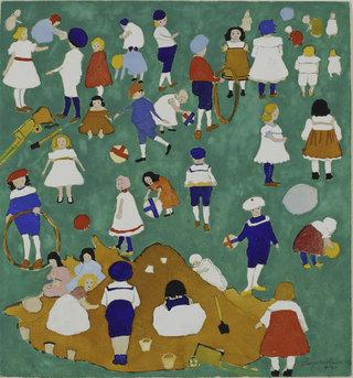 Казимир Малевич. Дети на лужайке. Рисунок. Гуашь, графитный карандаш. 1908